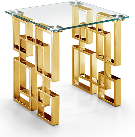 Clear glass top / golden legs end table
