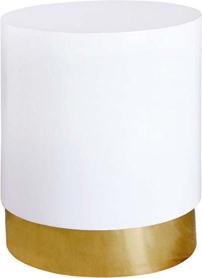 Round white lacquer / gold base end table