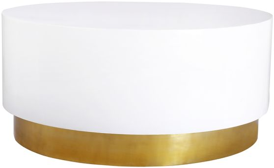 Round white lacquer / gold base coffee table