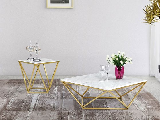 Golden stainless steel / marble top coffee table