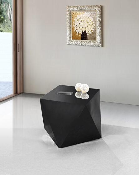 Black diamond-shape end table
