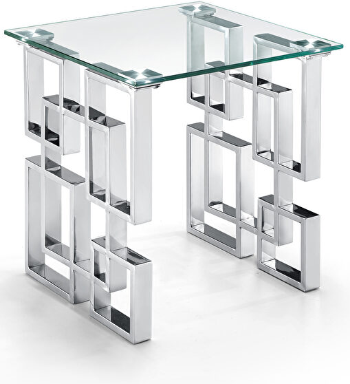 Glass top / stainless steel base end / accent table