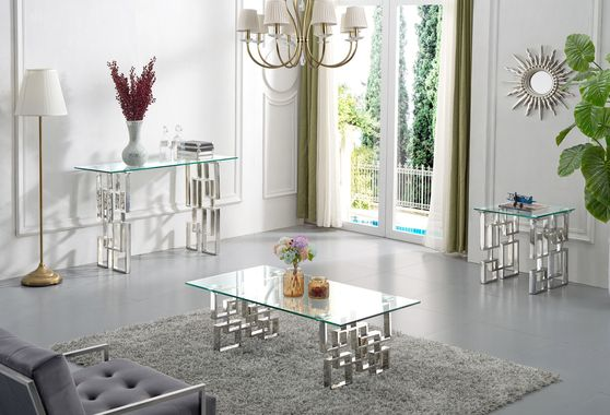 Glass top / stainless steel base coffee table