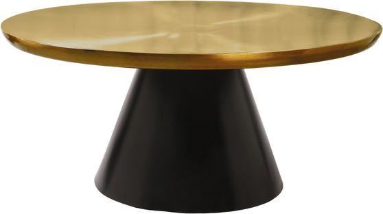 Stylish round gold top / black base coffee table