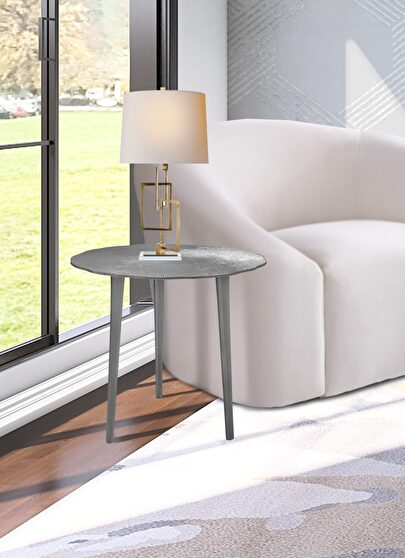 Silver textured metal finish end table