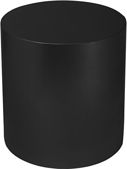 Round cylinder black contemporary end table