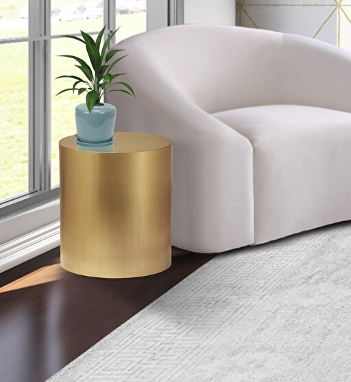 Round cylinder gold contemporary end table