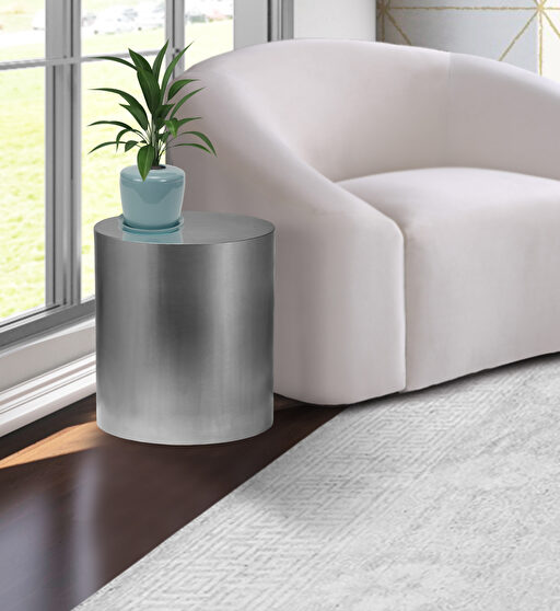 Round cylinder silver contemporary end table