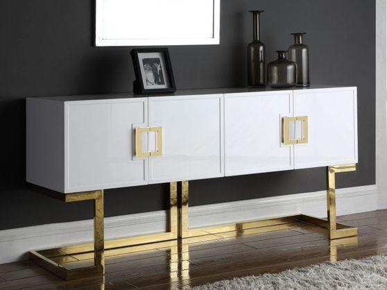 Golden/white gloss finish buffet/console display
