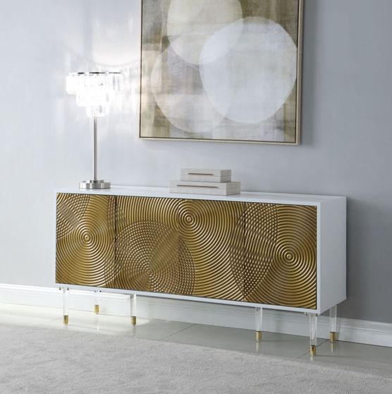 Contemporary golden / white laquer buffet