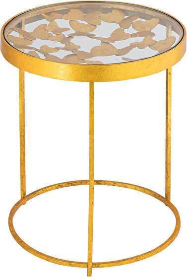 Stylish glass top golden base end / accent table