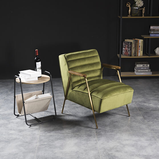 Mid-century style velvet / wood arms accent chair