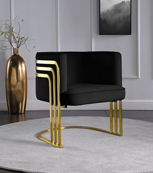 Black velvet retro contemporary style chair