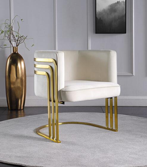 Cream velvet retro contemporary style chair