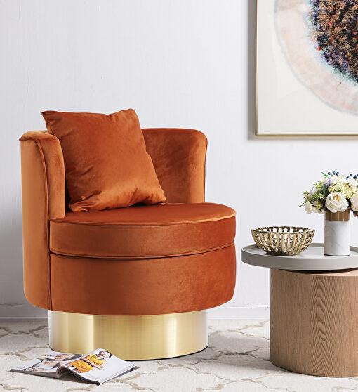 Round glam style gold base velvet upholstery chair