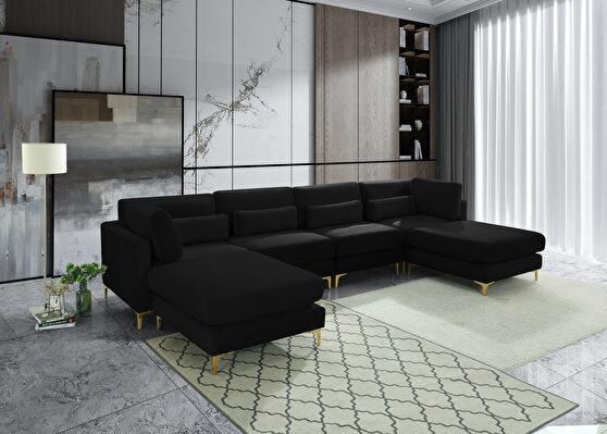6pcs modular sectional in black velvet w/ gold legs