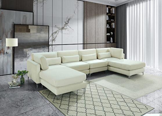 6pcs modular sectional in cream velvet w/ gold legs