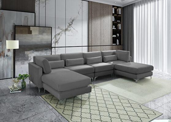 6pcs modular sectional in gray velvet w/ gold legs