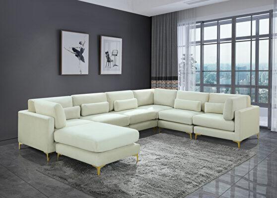 7pcs modular sectional in cream velvet w/ gold legs