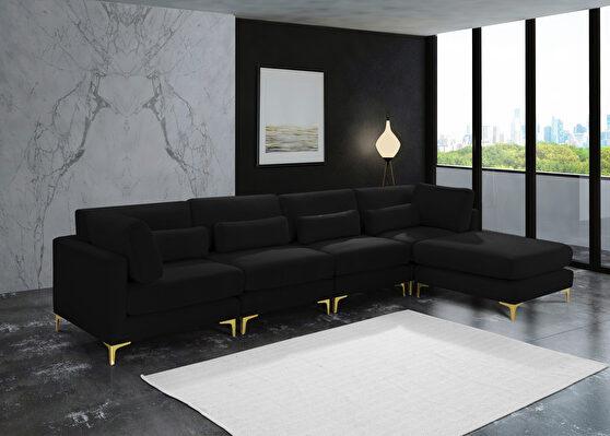 5pcs modular sectional in black velvet w/ gold legs