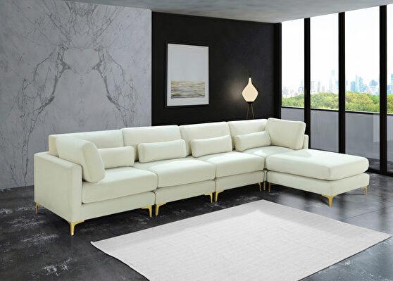 5pcs modular sectional in cream velvet w/ gold legs