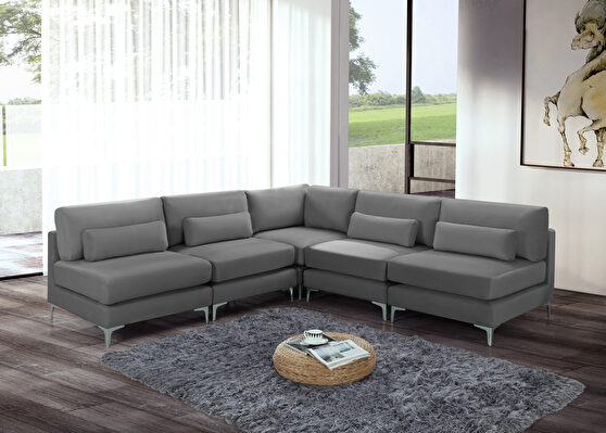 5pcs modular sectional in gray velvet w/ gold legs