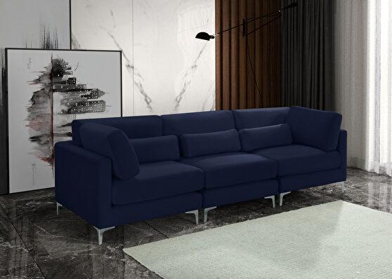 3pcs modular sofa in navy velvet w/ gold legs