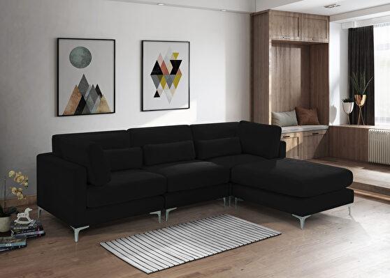 4pcs modular sectional in black velvet w/ gold legs