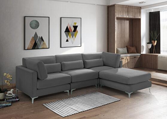 4pcs modular sectional in gray velvet w/ gold legs