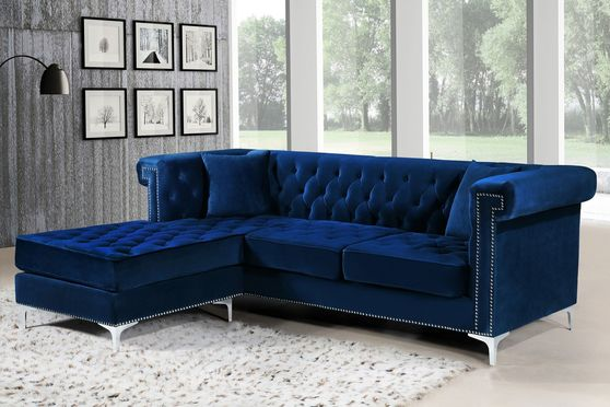 Navy reversible tufted velvet sectional