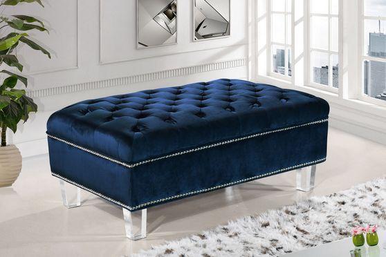 Contemporary style tufted velvet fabric ottoman