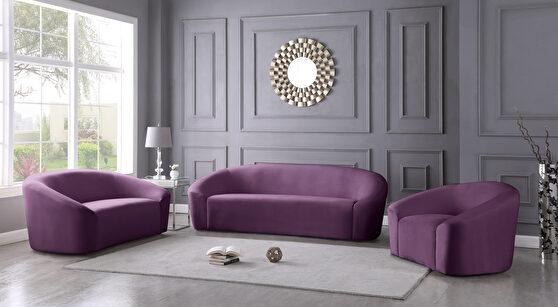 Rounded velvet design contemporary sofa