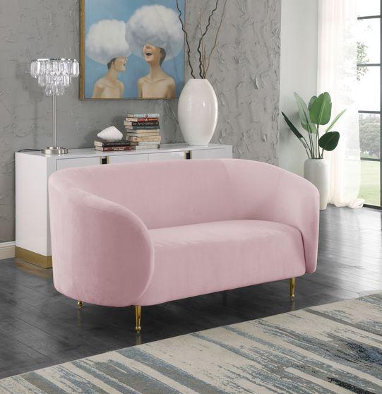 Pink velvet fabric contemporary design loveseat
