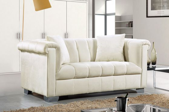 Cream velvet fabric tufted modern styled loveseat