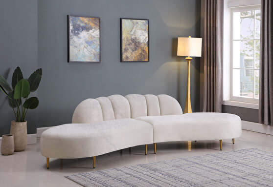 2pcs shell shape cream velvet sectional sofa