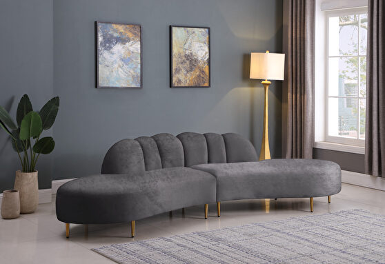 2pcs shell shape gray velvet sectional sofa