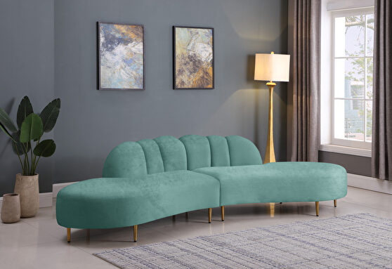 2pcs shell shape mint green velvet sectional sofa