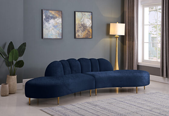 2pcs shell shape navy velvet sectional sofa