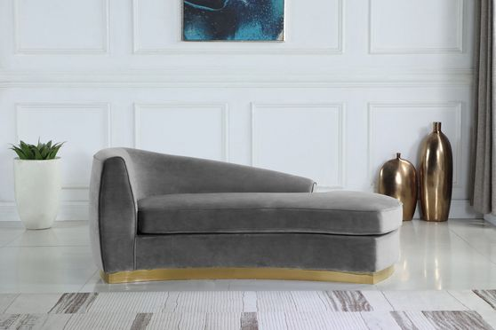Gray velvet contemporary chaise lounge