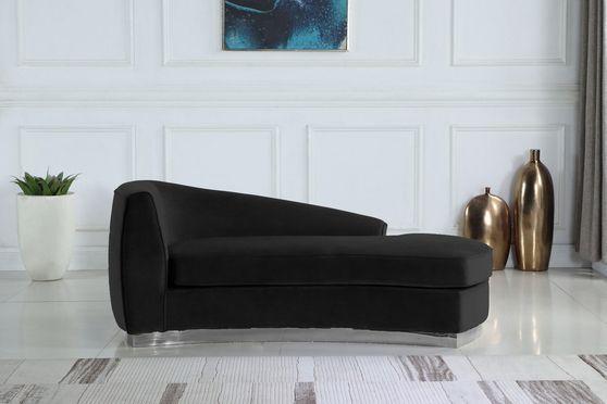 Black velvet contemporary chaise lounge