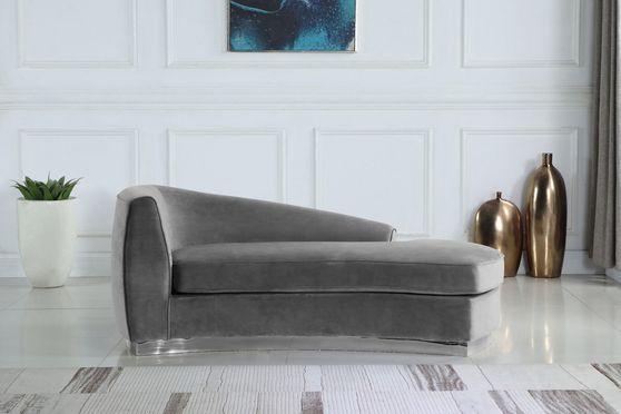 Gray velvet contemporary chaise lounger