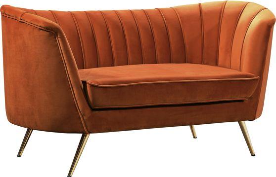 Curved orange cognac velvet fabric loveseat w/ gold legs