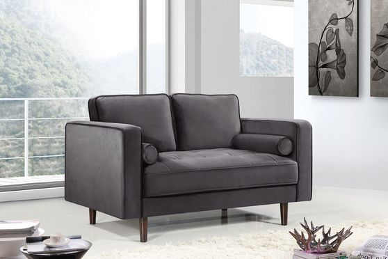 Velvet fabric contemporary loveseat w/ tufted seat