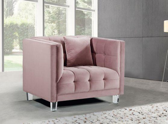 Pink tufted velvet / acrylig legs modern chair