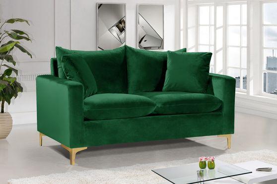 Green velvet fabric contemporary loveseat