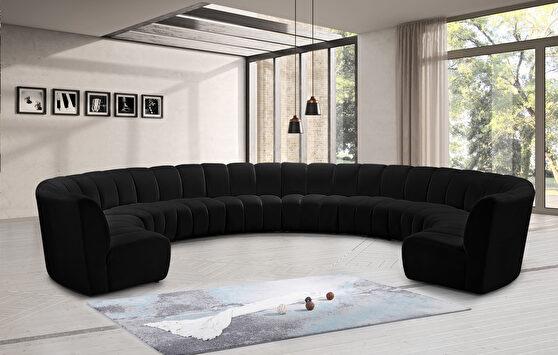 10 pcs black velvet modular sectional sofa