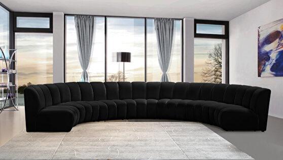 7pcs black velvet modular sectional sofa