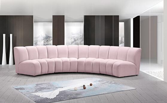 4pcs pink velvet modular sectional sofa
