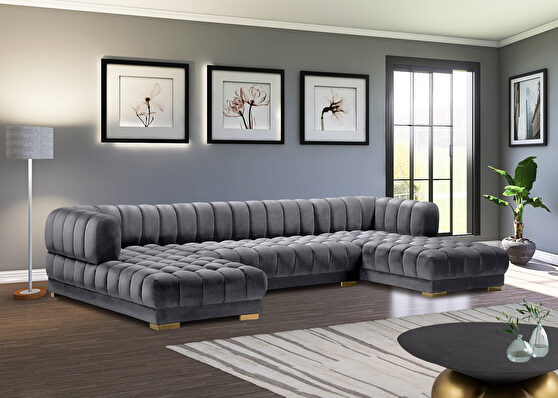 3pcs gray velvet low-profile contemporary sectional