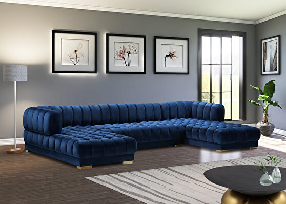 3pcs navy velvet low-profile contemporary sectional